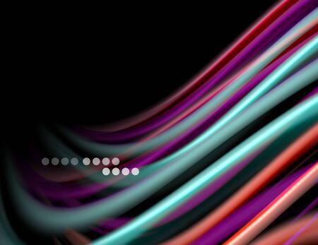 Silk smooth lines on black, liquid fluid color waves. Vector Illustration Banco de Imagens - 138282112