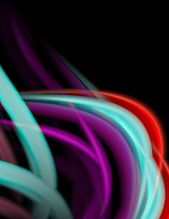 Silk smooth lines on black, liquid fluid color waves. Vector Illustration Ilustração