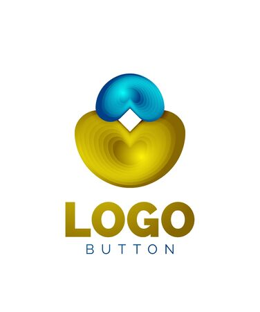 Abstract round shape template. Minimal geometrical design, 3d geometric bold symbol in relief style with color blend steps effect. Vector Illustration