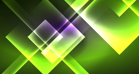 Neon shiny color squares on black, modern template Ilustrace