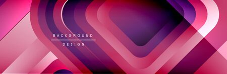 Round squares shapes composition geometric abstract background. Vector Illustration