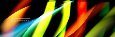 Ð¡olorful flow poster. Wave liquid lines and shapes in black color background. Vector Illustration Foto de archivo - 138467641