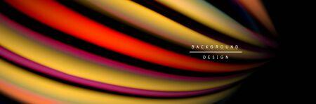 Ð¡olorful flow poster. Wave liquid lines and shapes in black color background. Vector Illustration Banque d'images - 138468347