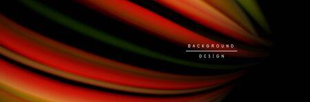Ð¡olorful flow poster. Wave liquid lines and shapes in black color background. Vector Illustration Reklamní fotografie - 138468351