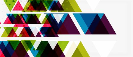 Banner with multicolored mosaic triangle geometric design on white background. Abstract texture. Vector illustration design template. Geometric art pattern background.