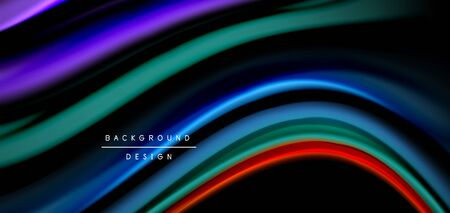 Abstract silk smooth lines on black, multicolored liquid fluid rainbow style waves on black. Vector Illustrations For Wallpaper, Banner, Background, Card, Book, Illustration, landing page, cover, placard, poster, banner, flyer, design