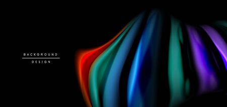 Abstract silk smooth lines on black, multicolored liquid fluid rainbow style waves on black Ilustrace
