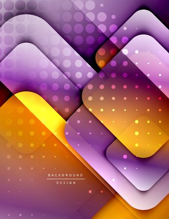 Rounded squares shapes composition geometric abstract background. 3D shadow effects and fluid gradients. Modern overlapping forms. Stok Fotoğraf - 138738765