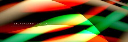 Ð¡olorful flow poster. Wave liquid lines and shapes in black color background. Vector Illustration Stok Fotoğraf - 138738809