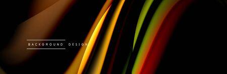 Ð¡olorful flow poster. Wave liquid lines and shapes in black color background. Vector Illustration Stok Fotoğraf - 138738864