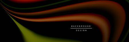 Ð¡olorful flow poster. Wave liquid lines and shapes in black color background. Vector Illustration Stok Fotoğraf - 138738855