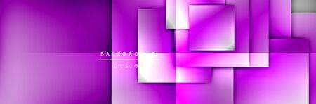 Square shapes composition geometric abstract background. 3D shadow effects and fluid gradients. Modern overlapping forms Stok Fotoğraf - 138738980