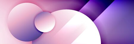 Dynamic trendy geometrical abstract background. Circles, round shapes 3d shadow effects and fluid gradients. Modern overlapping round forms Stok Fotoğraf - 138738923