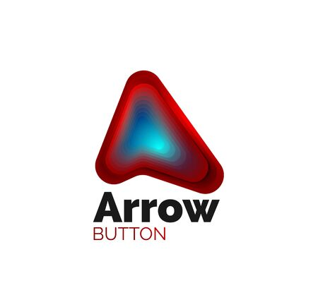 Arrow template. Or play or download button template. Minimal geometrical design, 3d geometric bold symbol in relief style with color blend steps effect. Vector Illustration
