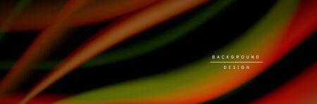 Ð¡olorful flow poster. Wave liquid lines and shapes in black color background. Vector Illustration Standard-Bild - 139719742