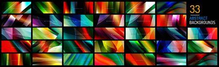 Mega set of wave liquid style lines with shadows and light on gradient backgrounds Ilustração