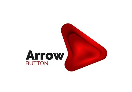 Arrow template. Or play or download button template. Minimal geometrical design, 3d geometric bold symbol in relief style with color blend steps effect. Vector Illustration Ilustracja