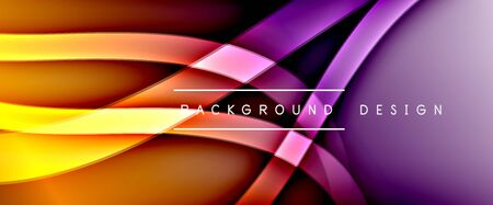 Dynamic trendy fluid color gradient abstract background with flowing wave lines. Illustration