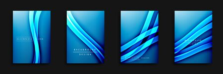 Wave covers set with fluid gradients. Dynamic trendy abstract background with flowing wavy lines. Vector Illustration For Wallpaper, Banner, Background, Card, Book Illustration, landing page, cover, placards, poster, banner, flyer design Illustration