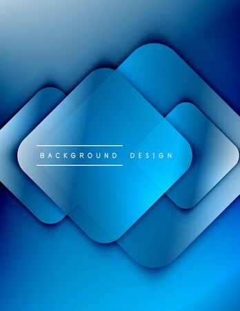 Rounded squares shapes composition geometric abstract background. 3D shadow effects and fluid gradients. Modern overlapping forms. Vector Illustration For Wallpaper, Banner, Background, Card, Book, Illustration, landing page, cover, placard, poster, banner, flyer, design