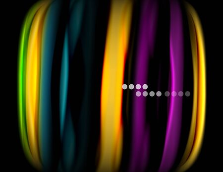 Silk smooth lines on black, liquid fluid color waves. Vector Illustration For Wallpaper, Banner, Background, Card, Book, Illustration, landing page, cover, placard, poster, banner, flyer, design