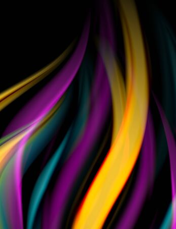 Silk smooth lines on black, liquid fluid color waves. Vector Illustration Illustration