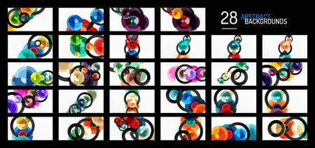 Set of abstract backgrounds, trendy color circles geometrical compositions. Vector Illustration For Wallpaper, Banner, Background, Card, Book Illustration, landing page Ilustrace
