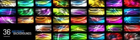 Set of neon wave abstract backgrounds. Vector Illustration For Wallpaper, Banner, Background, Card, Book Illustration, landing page Ilustrace