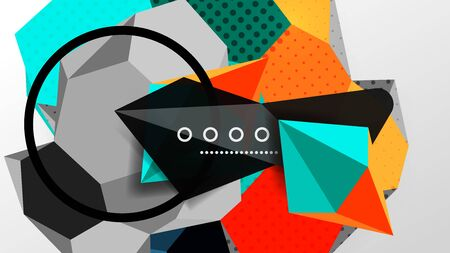 Abstract background - 3d polygonal geometric shapes composition. Vector Illustration For Wallpaper, Banner, Background, Card, Book Illustration, landing page Ilustracja