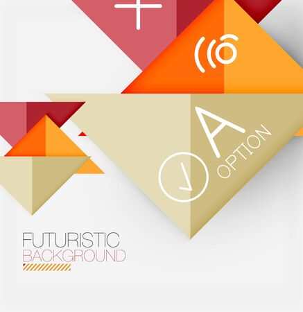Abstract background, geometric business multicolored paper infographic - triangle frames for text, icons or graphics on light background with copyspace. Vector Illustration For Wallpaper, Banner 版權商用圖片 - 142083961