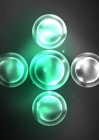 Glowing neon shiny transparent bubbles, glass circles or bio cell concept. Techno futuristic vector abstract background For Wallpaper, Banner, Background, Card, Book Illustration, landing page Ilustração Vetorial