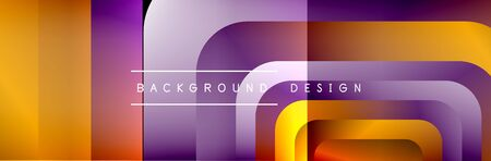 Round squares shapes composition geometric abstract background. Vector Illustration For Wallpaper, Banner, Background, Card, Book, Illustration, landing page, cover, placard, poster, banner, flyer, de  イラスト・ベクター素材