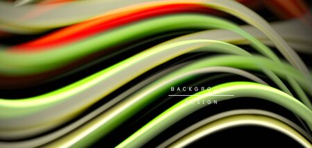 Abstract silk smooth lines on black, multicolored liquid fluid rainbow style waves on black. Vector Illustrations For Wallpaper, Banner, Background, Card, Book, Illustration, landing page, cover, plac  イラスト・ベクター素材