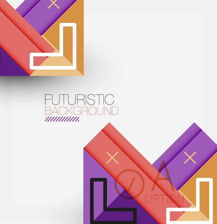Abstract background, geometric business multicolored paper infographic - triangle frames for text, icons or graphics on light background with copyspace. Vector Illustration For Wallpaper, Banner, Back  イラスト・ベクター素材