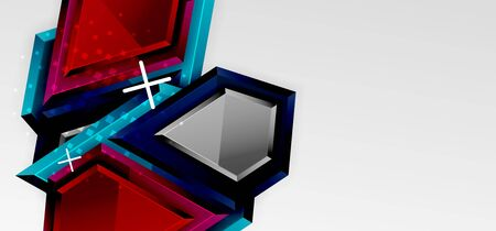 Metal glossy shiny geometric shapes with 3d effect composition. Techno futuristic vector abstract background For Wallpaper, Banner, Background, Card, Book Illustration, landing page  イラスト・ベクター素材