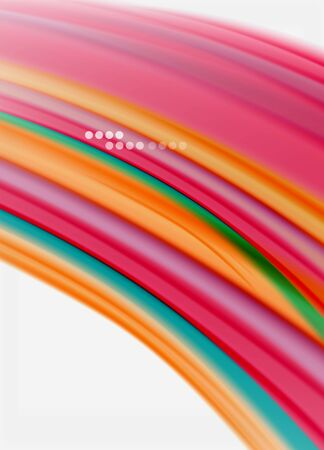 Wave lines abstract background, smooth silk design with rainbow style colors. Liquid fluid color waves. Vector Illustration  イラスト・ベクター素材