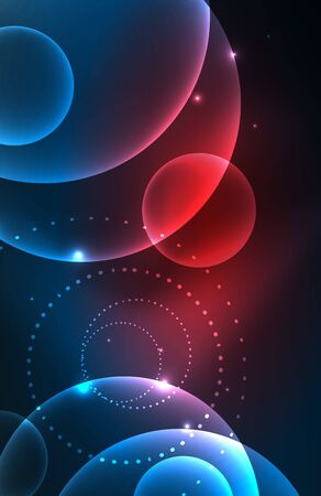 Neon shiny transparent glowing circles with light effects. Techno futuristic vector abstract background For Wallpaper, Banner, Background, Card, Book Illustration, landing page