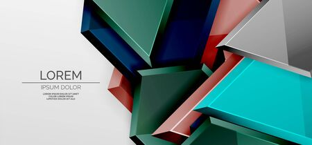 Metal glossy shiny geometric shapes with 3d effect composition. Techno futuristic vector abstract background For Wallpaper, Banner, Background, Card, Book Illustration, landing page