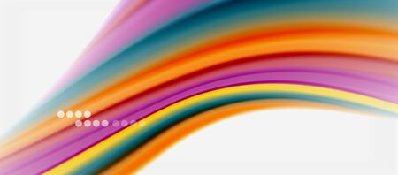 Wave lines abstract background, smooth silk design with rainbow style colors. Liquid fluid color waves. Vector Illustration 向量圖像