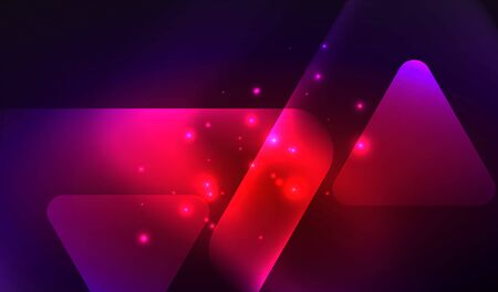 Glowing neon shiny transparent abstract geometric shapes with light effects. Techno futuristic vector abstract background For Wallpaper, Banner, Background, Card, Book Illustration, landing page  イラスト・ベクター素材