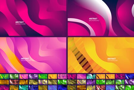 Set of wave patterns fluid gradients, abstract liquid lines for Wallpaper, Banner, Background, Card, Book Illustration, landing page