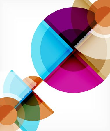 Abstract background, circle and triangle design round shapes overlapping each other. Geometric trendy template. Vector Illustration For Wallpaper, Banner, Background, Card, Book Illustration, landing page Vetores