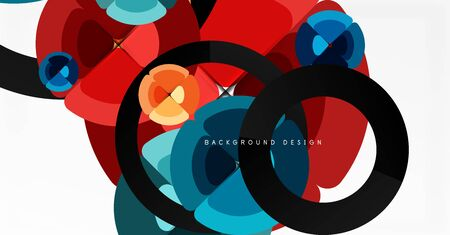 Abstract background, trendy color circles geometrical composition. Vector Illustration For Wallpaper, Banner, Background, Card, Book Illustration, landing page Иллюстрация