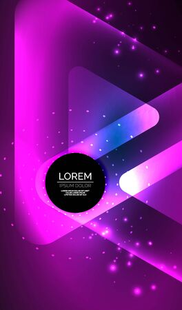 Glowing neon shiny transparent abstract geometric shapes with light effects. Techno futuristic vector abstract background For Wallpaper, Banner, Background, Card, Book Illustration, landing page Illustration