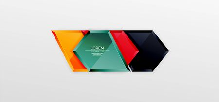 Metal glossy shiny geometric shapes with 3d effect composition. Techno futuristic vector abstract background For Wallpaper, Banner, Background, Card, Book Illustration, landing page 向量圖像
