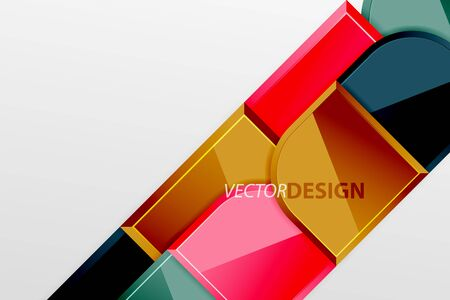 Glossy glass squares with round elements geometric composition. Abstract geometric background with 3d effect composition For Wallpaper, Banner, Background, Card, Book Illustration, landing page 向量圖像