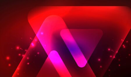 Glowing neon shiny transparent abstract geometric shapes with light effects. Techno futuristic vector abstract background For Wallpaper, Banner, Background, Card, Book Illustration, landing page 向量圖像