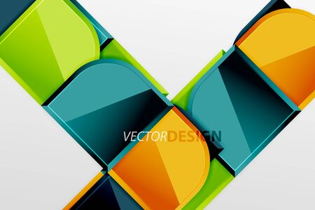 Glossy glass squares with round elements geometric composition. Abstract geometric background with 3d effect composition For Wallpaper, Banner, Background, Card, Book Illustration, landing page