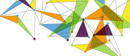 Linienpunkte Verbindungen, dreieckiges Technologiedesign. Abstrakte geometrische Hintergrundzusammensetzung für Tapete, Banner, Hintergrund, Karte, Buchillustration, Landing Page Vektorgrafik