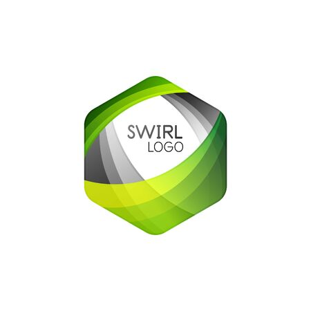 Business hexagon vector logo icon template made of swirl lines and waves